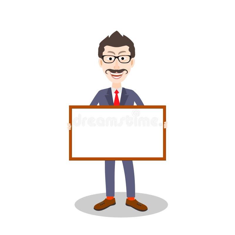 O homem com bigodes mostra uma placa vazia ilustração stock