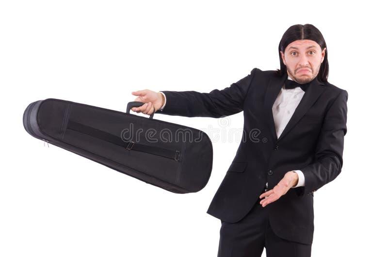 O homem com a caixa do violino isolada no branco fotografia de stock royalty free