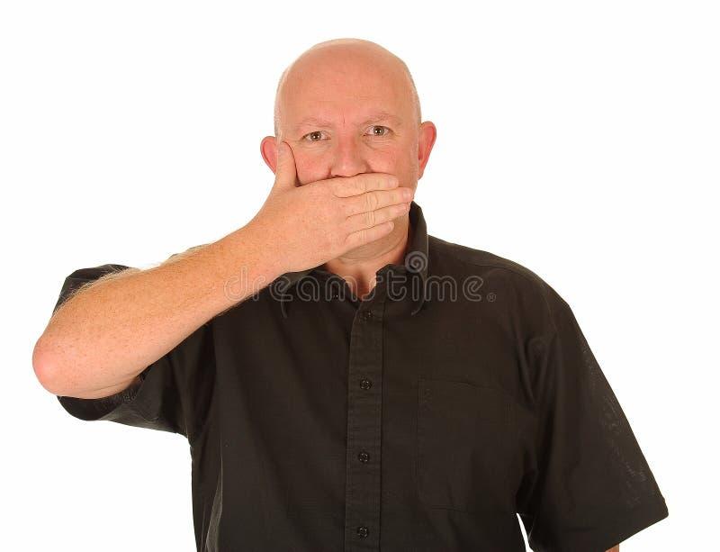 O homem com cede a boca imagens de stock