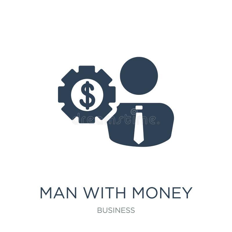 o homem com dinheiro alinha o ícone no estilo na moda do projeto homem com o ícone das engrenagens do dinheiro isolado no fundo b ilustração stock