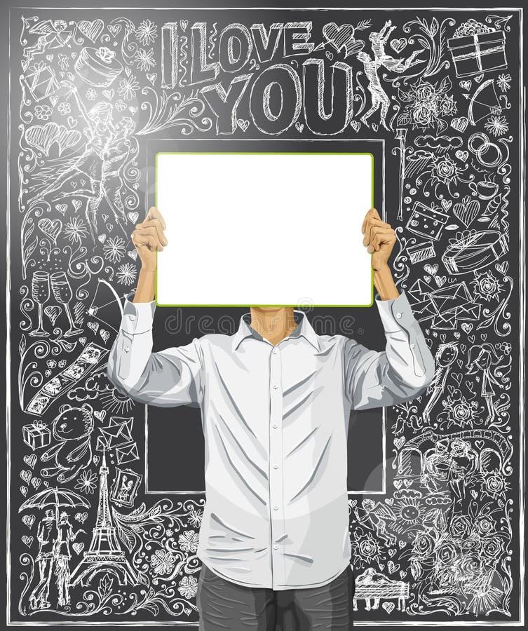 O homem com escreve a placa contra o fundo do amor ilustração stock