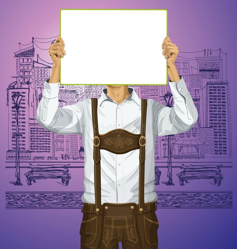O homem com escreve a placa em Oktoberfest ilustração stock