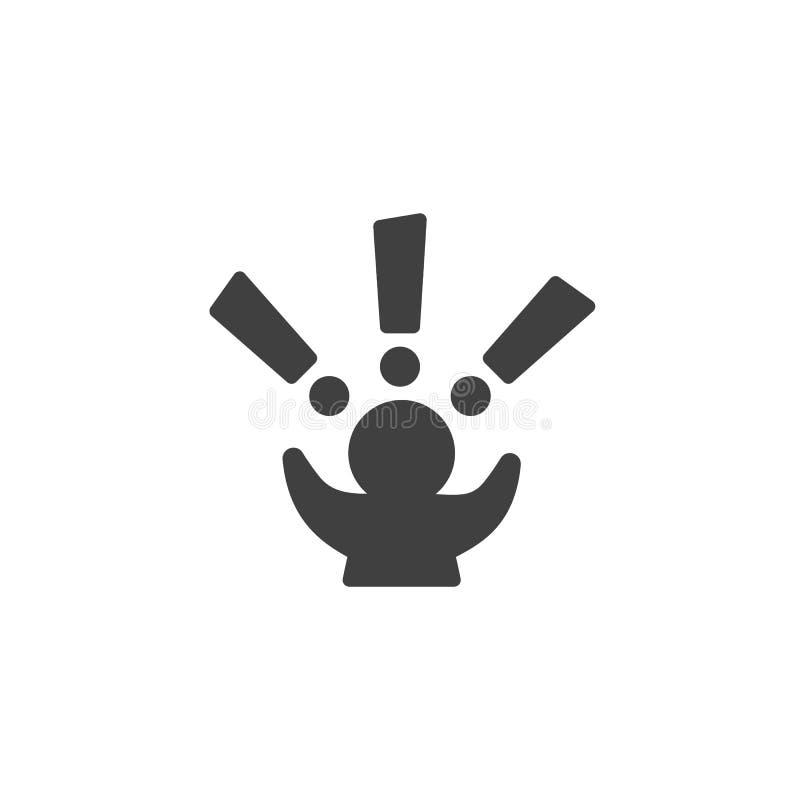 O homem com exclamação marca o ícone do vetor ilustração stock