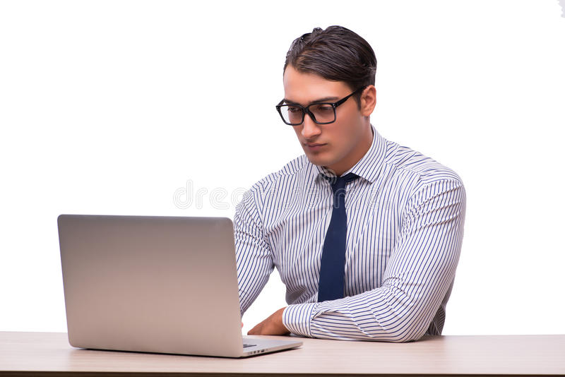 O homem com o portátil isolado no branco foto de stock royalty free