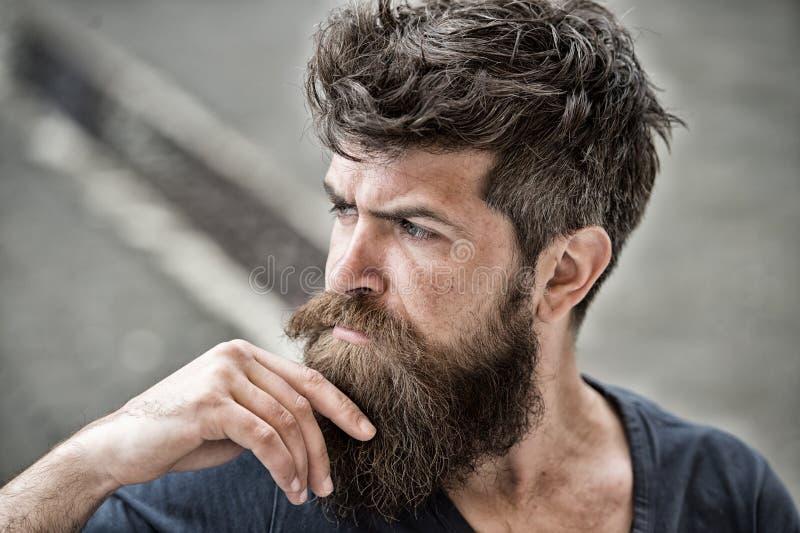 O homem com os olhares da barba e do bigode pensativos ou o homem farpado incomodado na cara concentrada tocam na barba Moderno c fotografia de stock royalty free