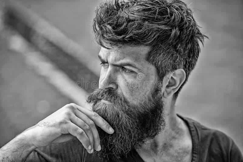 O homem com os olhares da barba e do bigode pensativos ou o homem farpado incomodado na cara concentrada tocam na barba Moderno c imagem de stock royalty free