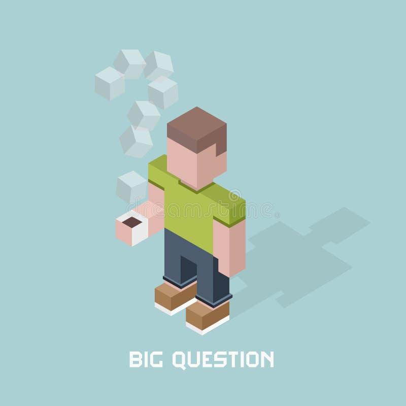 O homem com pergunta grande duvida, ponto de interrogação gigante do vapor do café, ilustração isométrica do vetor da composição  ilustração stock