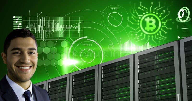 O homem com servidores de computador e informação da tecnologia do bitcoin conecta imagem de stock royalty free