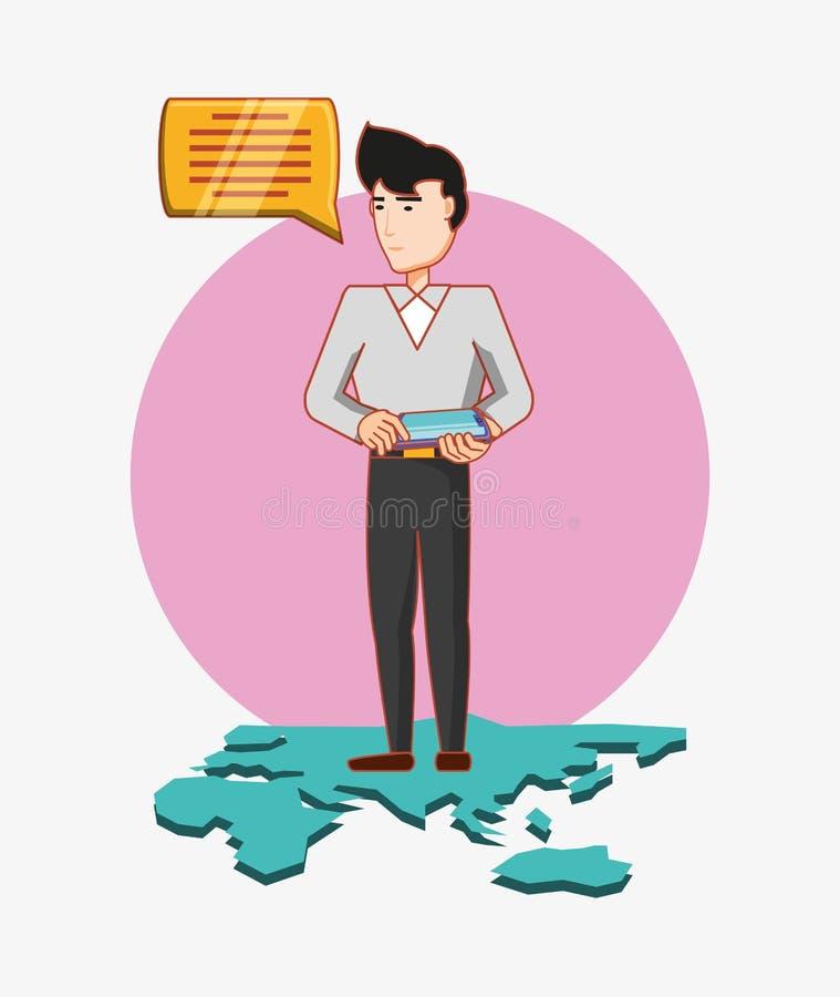 O homem com o tablet pc que está em meios sociais do mapa do mundo conversa ilustração stock