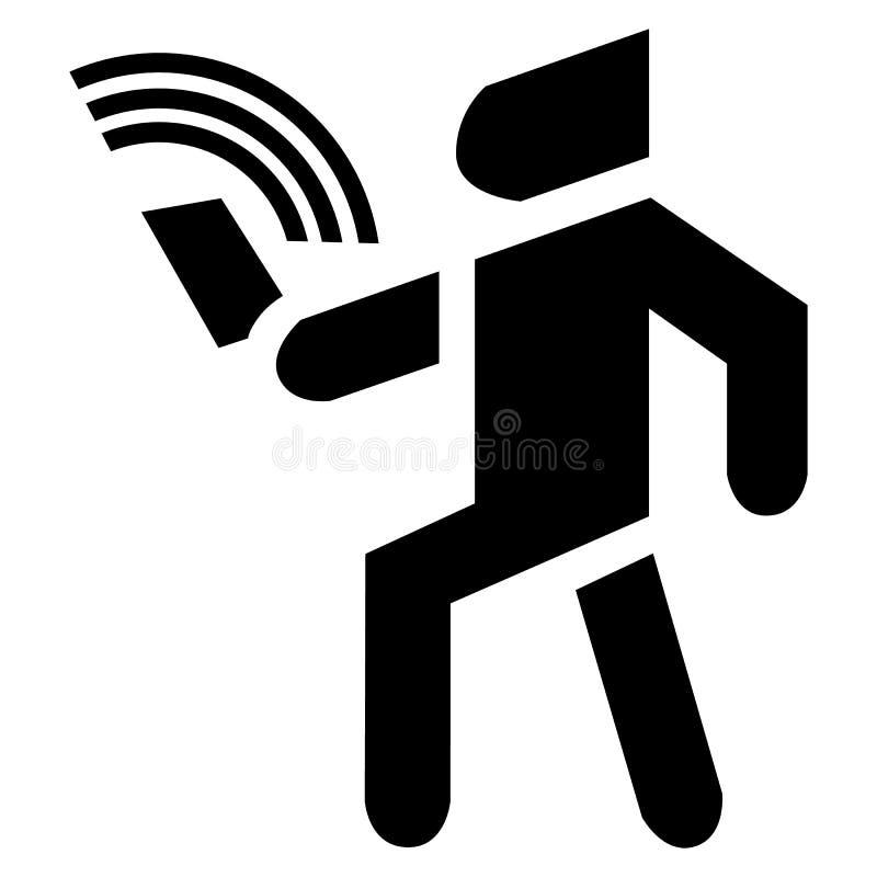 O homem com telefone celular liso usa o app ?cone do fundo do vetor ilustração stock