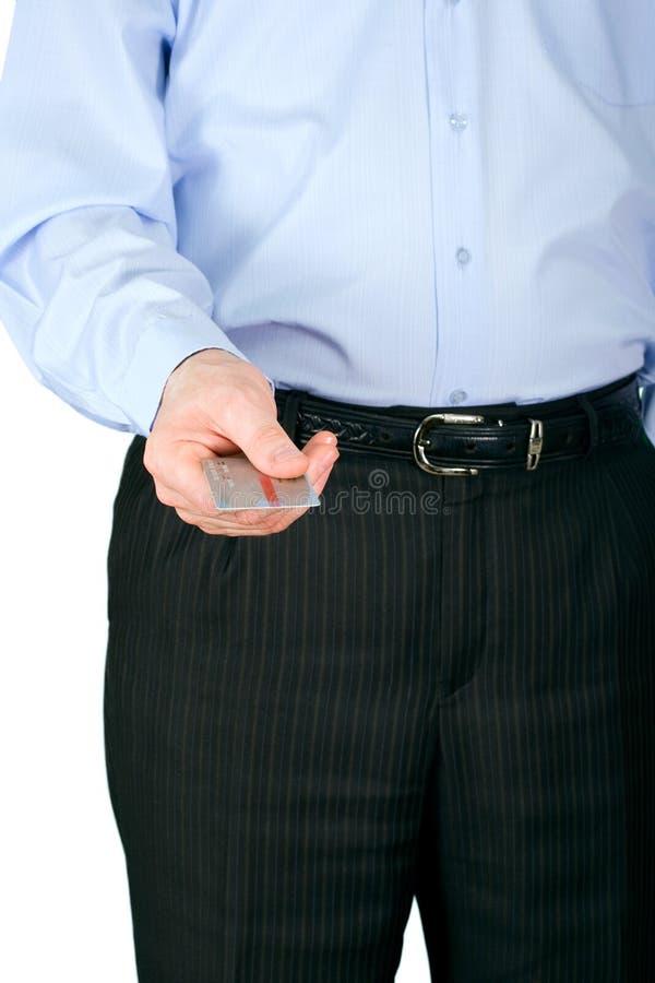 O homem com um cartão de crédito imagem de stock royalty free