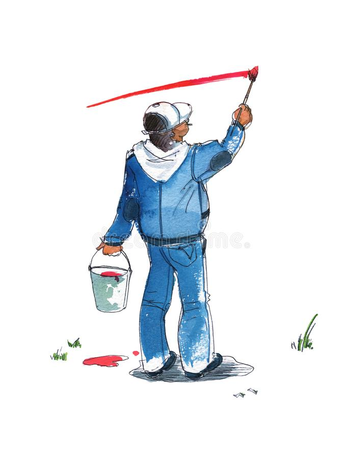 O homem com um terno do bon? de beisebol e da sarja de Nimes com uma cubeta em sua m?o tira uma tira na parede com uma escova Vis ilustração do vetor