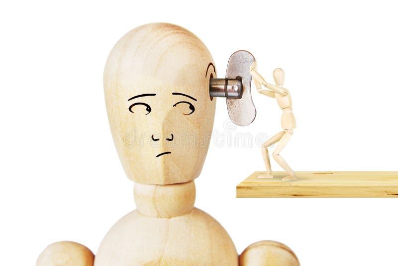O homem começa um trabalho de uma outra cabeça humana fotos de stock royalty free