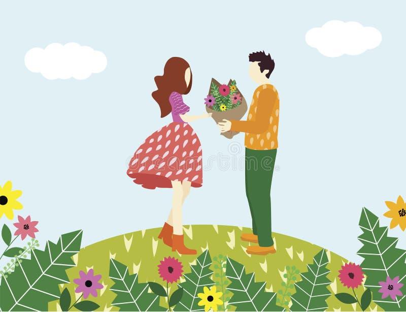 O homem confessa o amor a uma mulher e dá sua flor ilustração royalty free