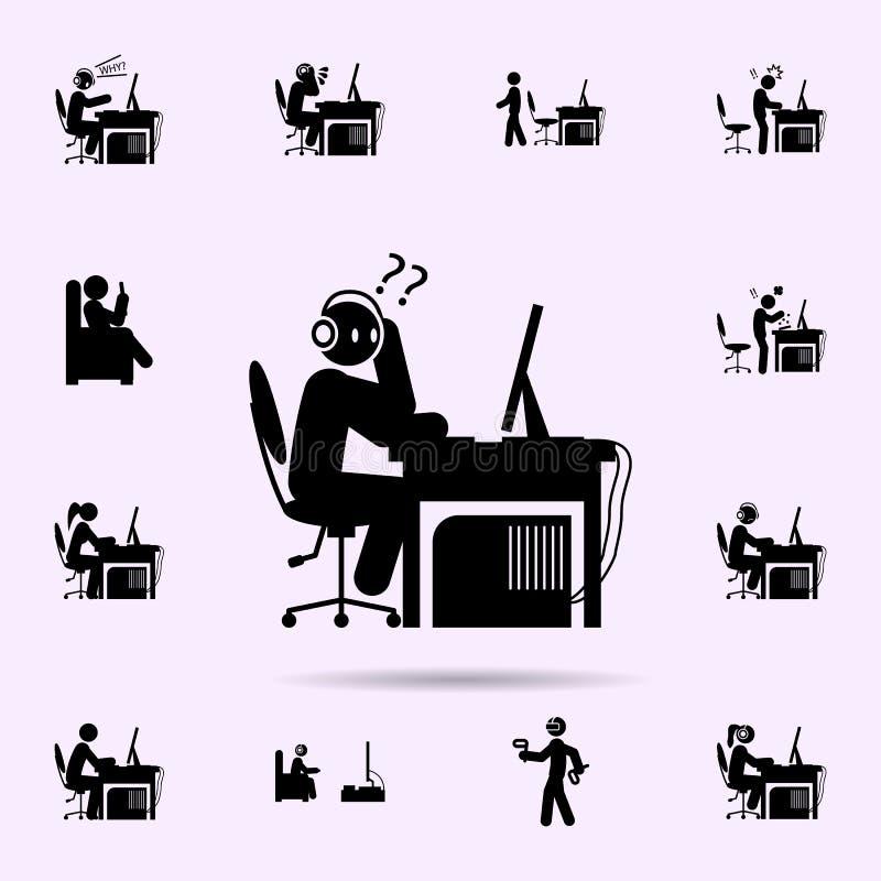 o homem confunde o ?cone grupo universal dos ?cones do gamer para a Web e o m?bil ilustração stock
