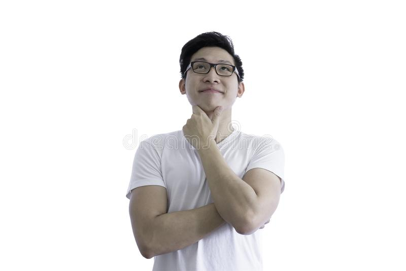 O homem considerável asiático com camisa branca e os monóculos alaranjados tem o SE fotos de stock royalty free