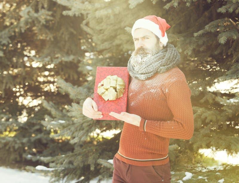 O homem considerável no chapéu de Papai Noel, no moderno farpado com barba e no bigode coberto com a geada branca, guarda a caixa fotos de stock royalty free