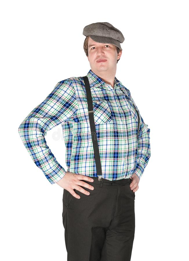 O homem considerável novo do país do fazendeiro isolou-se fotografia de stock
