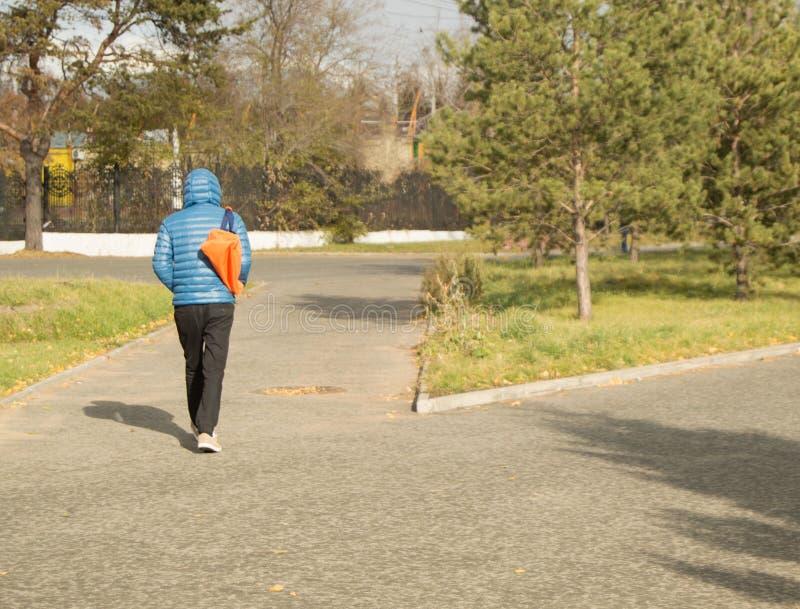 O homem considerável novo que veste um casaco azul com esportes ensaca, andando no parque, vista traseira fotografia de stock royalty free