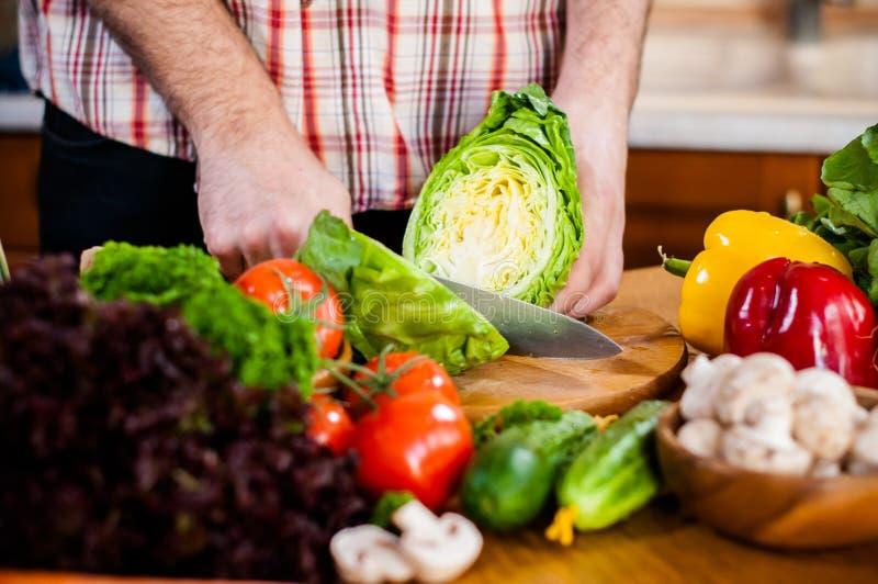 O homem corta vegetais frescos da mola imagem de stock