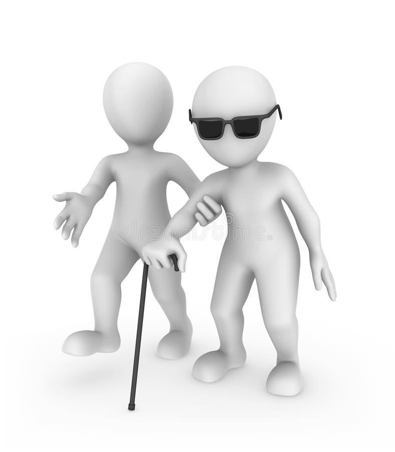 o homem 3d branco ajuda a pessoa cega ilustração stock
