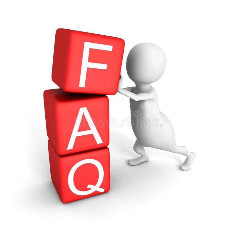 O homem 3d branco com vermelho obstrui a palavra do FAQ ilustração do vetor