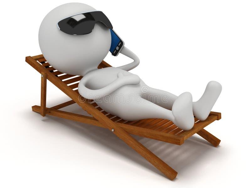 o homem 3d branco relaxa com smartphone ilustração do vetor
