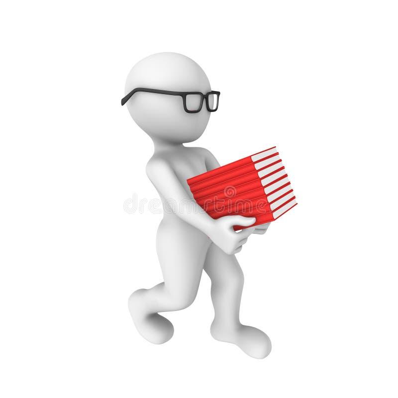 o homem 3d carrega livros ilustração do vetor