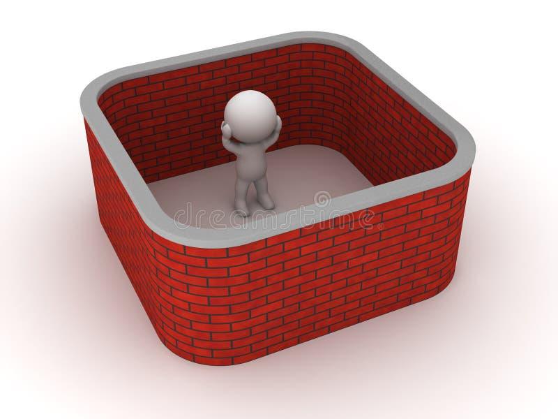 o homem 3D colou com a parede de tijolo em torno dele ilustração do vetor