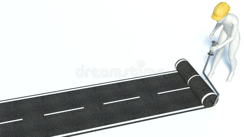 o homem 3d constrói uma estrada do asfalto ilustração stock