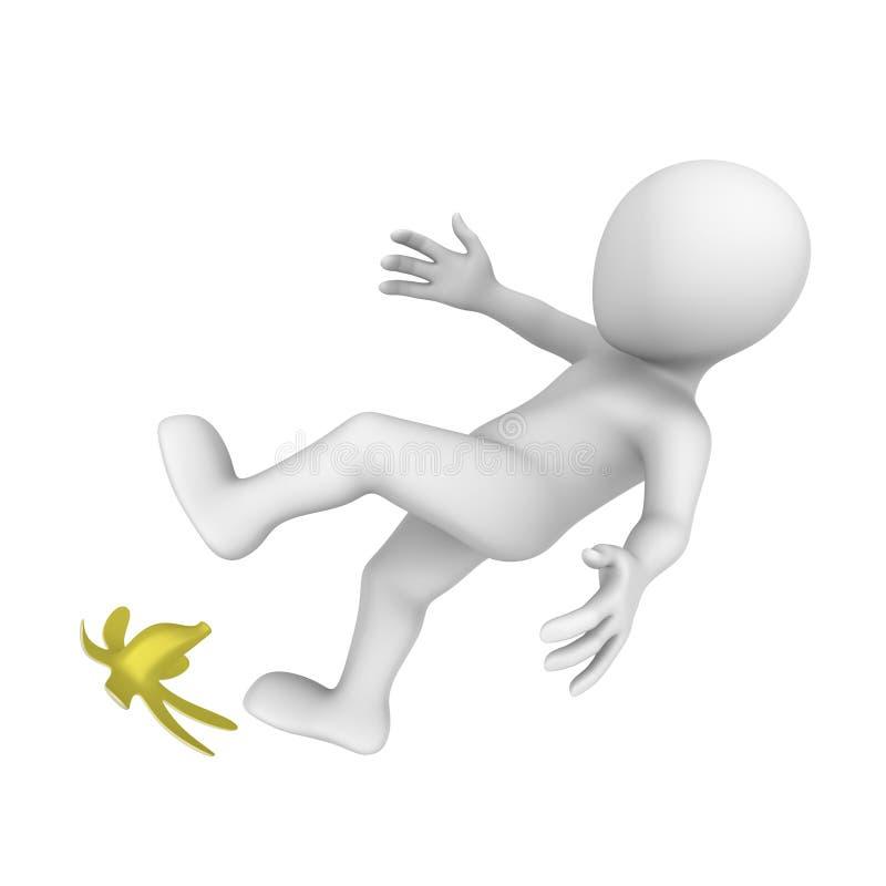 o homem 3d deslizou na banana ilustração do vetor