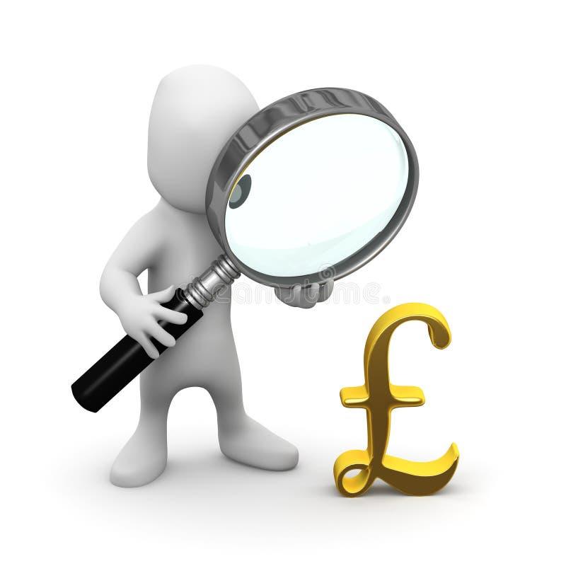 o homem 3d pequeno amplia o símbolo de moeda das libras do Reino Unido ilustração stock