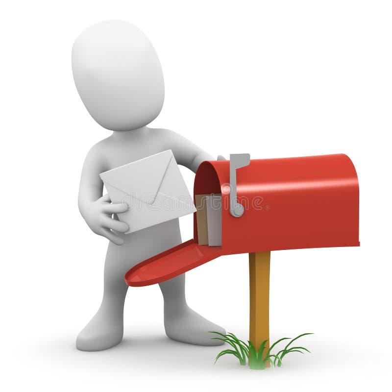o homem 3d pequeno obtém o correio ilustração stock