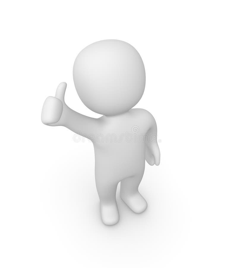 o homem 3d que mostra os polegares levanta o sinal