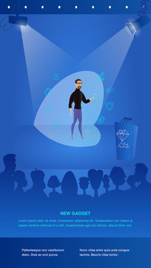 O homem da ilustração apresenta ao dispositivo novo público ilustração do vetor