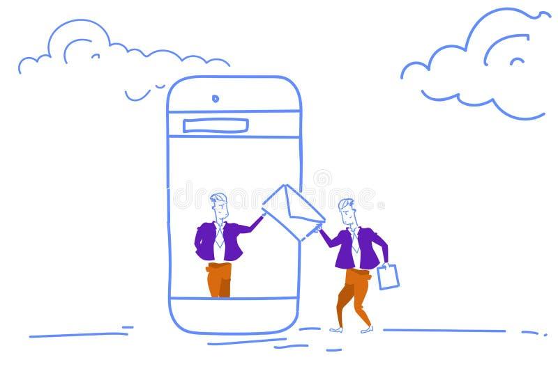 O homem da tela digital do smartphone envia a povos do envelope o conceito em linha de uma comunicação do bate-papo aplicação móv ilustração do vetor