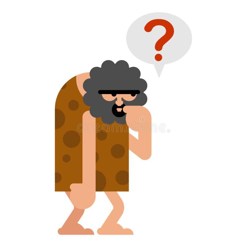 O homem das cavernas pensa isolado O homem pré-histórico espera O homem antigo pensa ilustração do vetor
