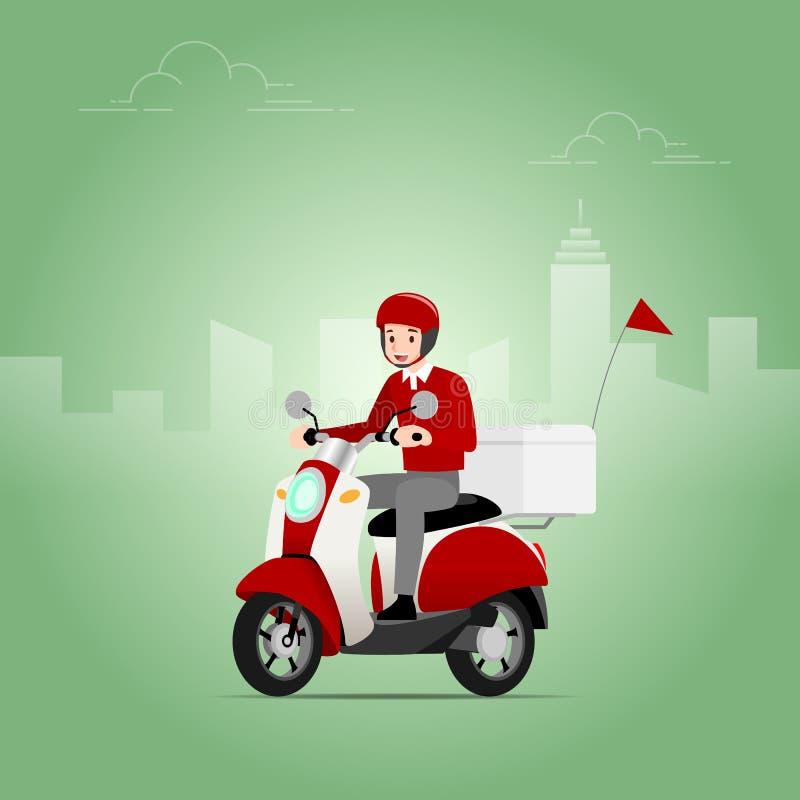 O homem de entrega que veste um capacete que monta um 'trotinette', motocicleta, para enviar os bens do transitário para entregar ilustração stock