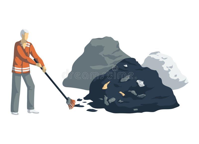 O homem de lixo limpa a pilha do lixo Objetos isolados no fundo branco Lixo que recicla o conceito ilustração do vetor