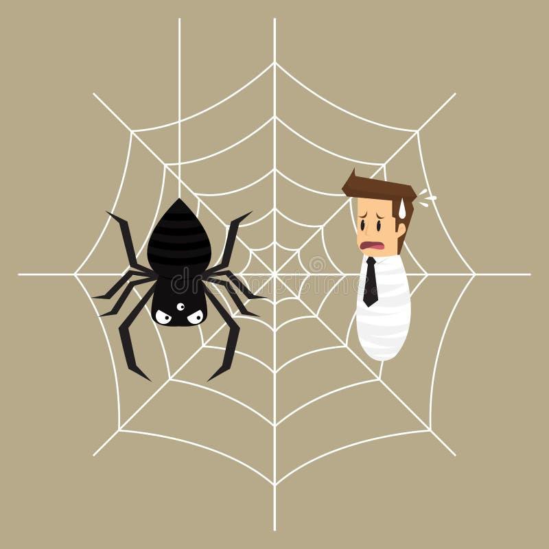 O homem de negócio é prendido na Web de aranha ilustração royalty free