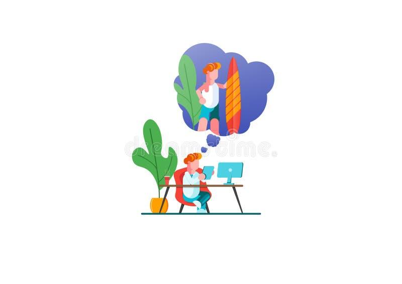 O homem de negócio é de relaxamento e de sonho sobre surfar e férias em uma ilha tropical em seu lugar de trabalho Interior moder ilustração do vetor