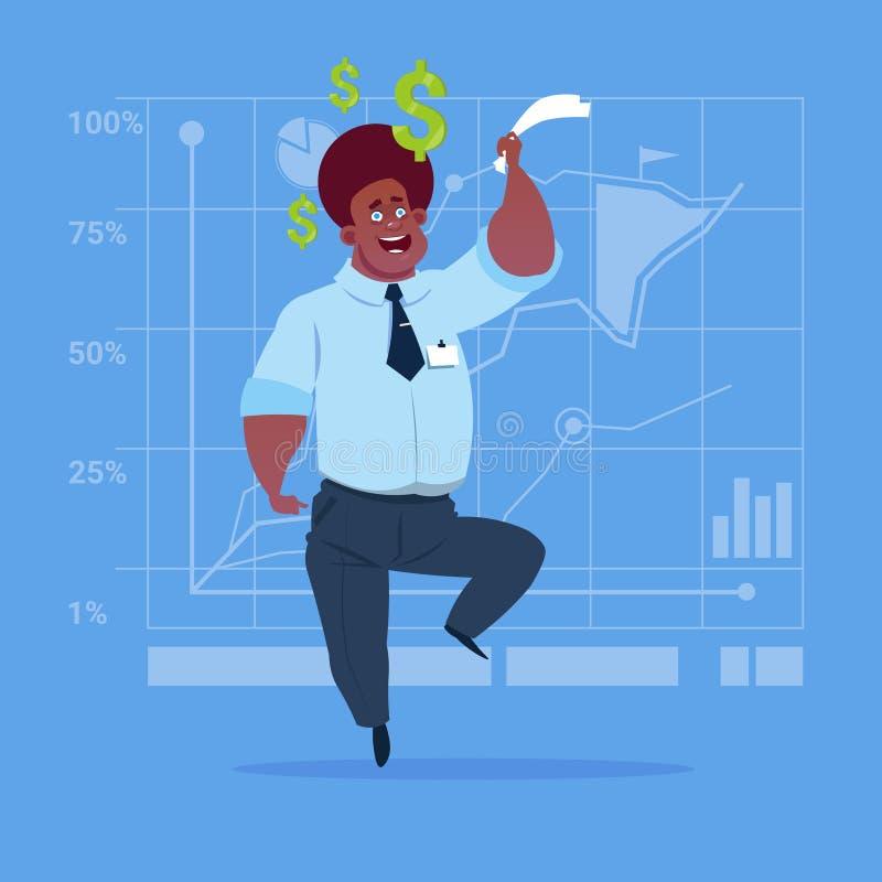 O homem de negócio afro-americano com dólar assina sobre o conceito do sucesso do dinheiro do fundo do gráfico da carta da finanç ilustração stock