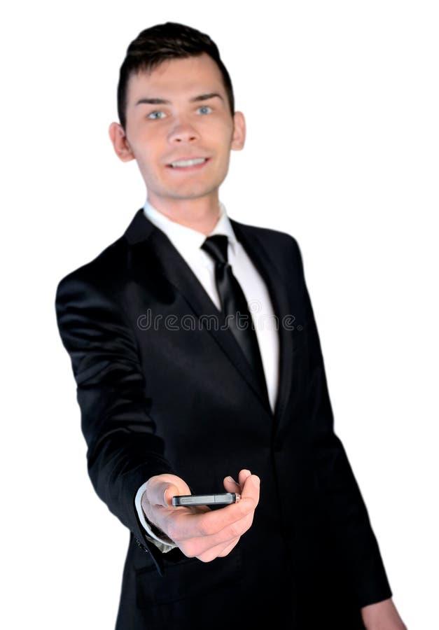 O homem de negócio dá o telefone fotografia de stock royalty free