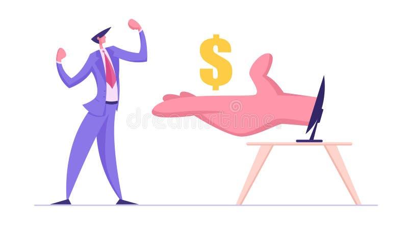 O homem de negócio demonstra os músculos recebe dólares da mão enorme do monitor do computador Conceito do sal?rio do Internet ilustração stock