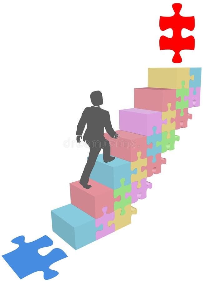 O homem de negócio escala acima etapas do enigma ilustração do vetor