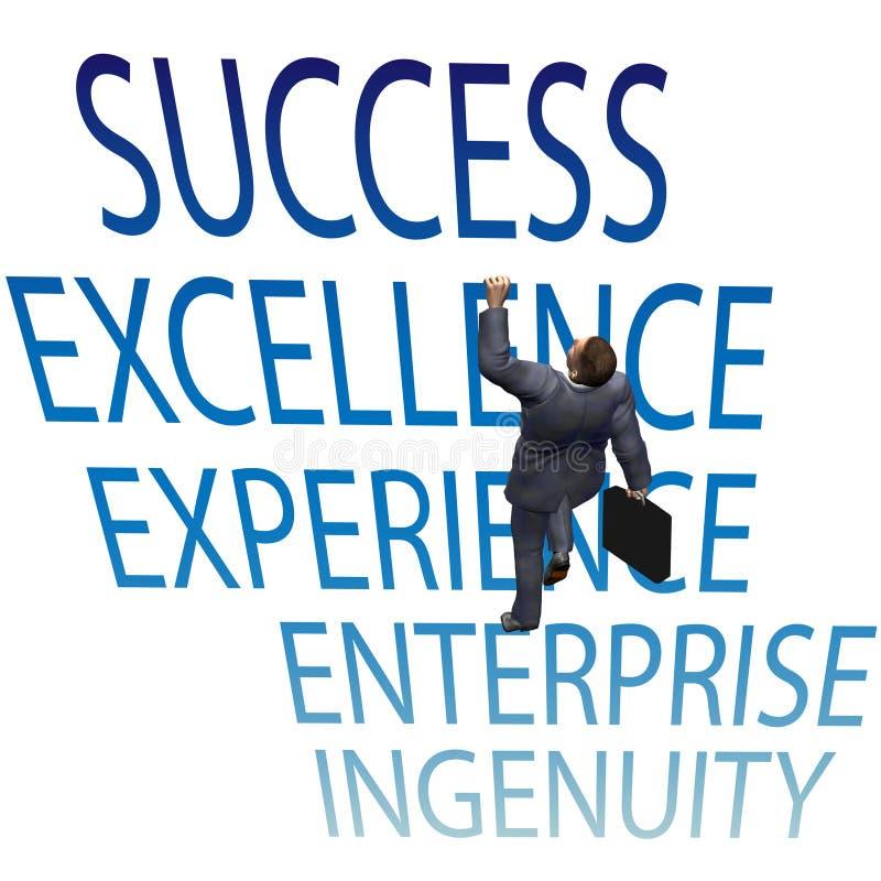 O homem de negócio escala acima palavras do sucesso 3D ilustração stock