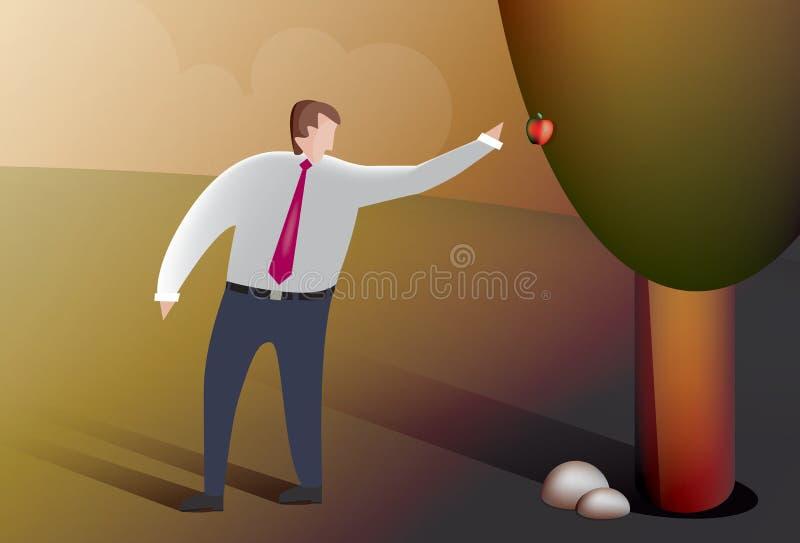 O homem de negócio escolhe o fruto ilustração royalty free