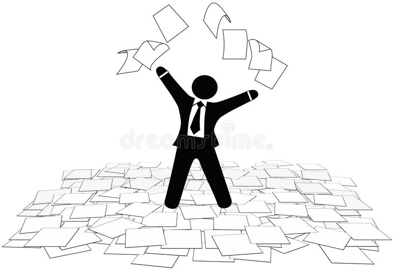 O homem de negócio joga páginas do documento para arejar o assoalho ilustração do vetor