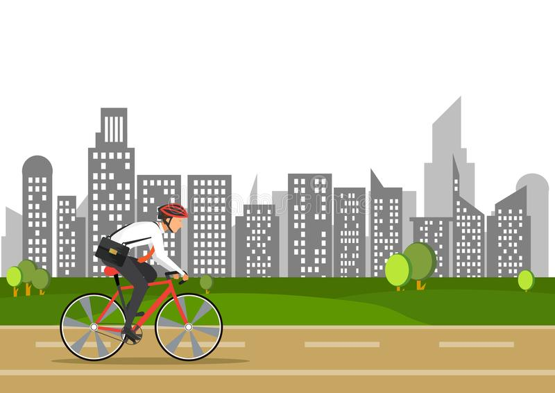 O homem de negócio na bicicleta vai trabalhar na cidade ilustração royalty free
