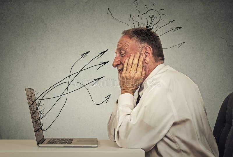 O homem de negócio que trabalha no computador no sonho do escritório tem a ideia foto de stock